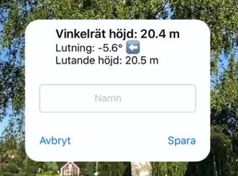 Lutning på trädet visas i appen Arboreal Trädhöjd.